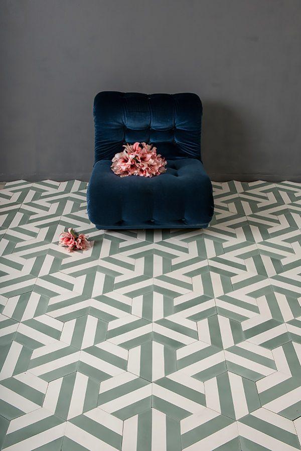 Marrakech Design Kimono B Laurel/Pure white. Edinburgh Tile Studio.