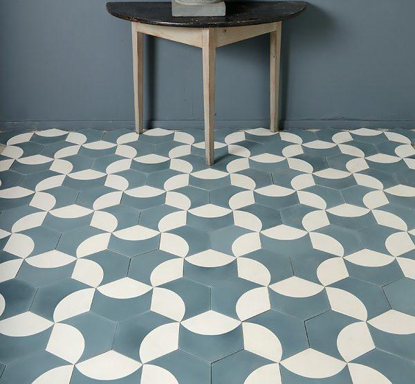 Marrakech Design Moonrise Pigeon blue/Pure white. Edinburgh Tile Studio.