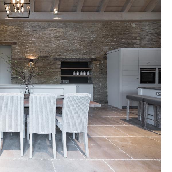 Ca' Pietra Neranjo Limestone, seasoned, interior shot, Edinburgh Tile Studio