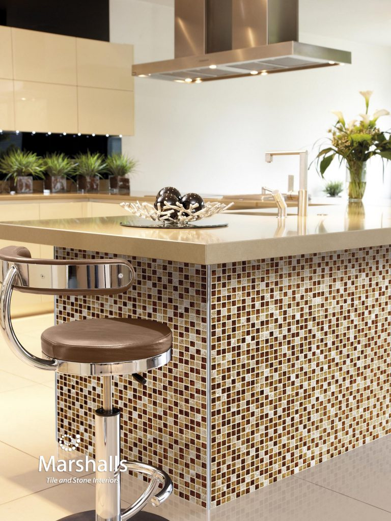 Marshalls Ethan Mosaic, kitchen island, Edinburgh Tile Studio