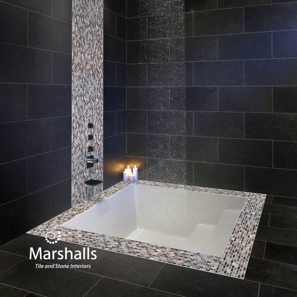 Marshalls Dahli Grey Mosaic, sunken bath, Edinburgh Tile Studio