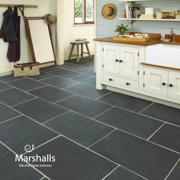 Marshalls Rustic Black Slate, room shot, Edinburgh Tile Studio