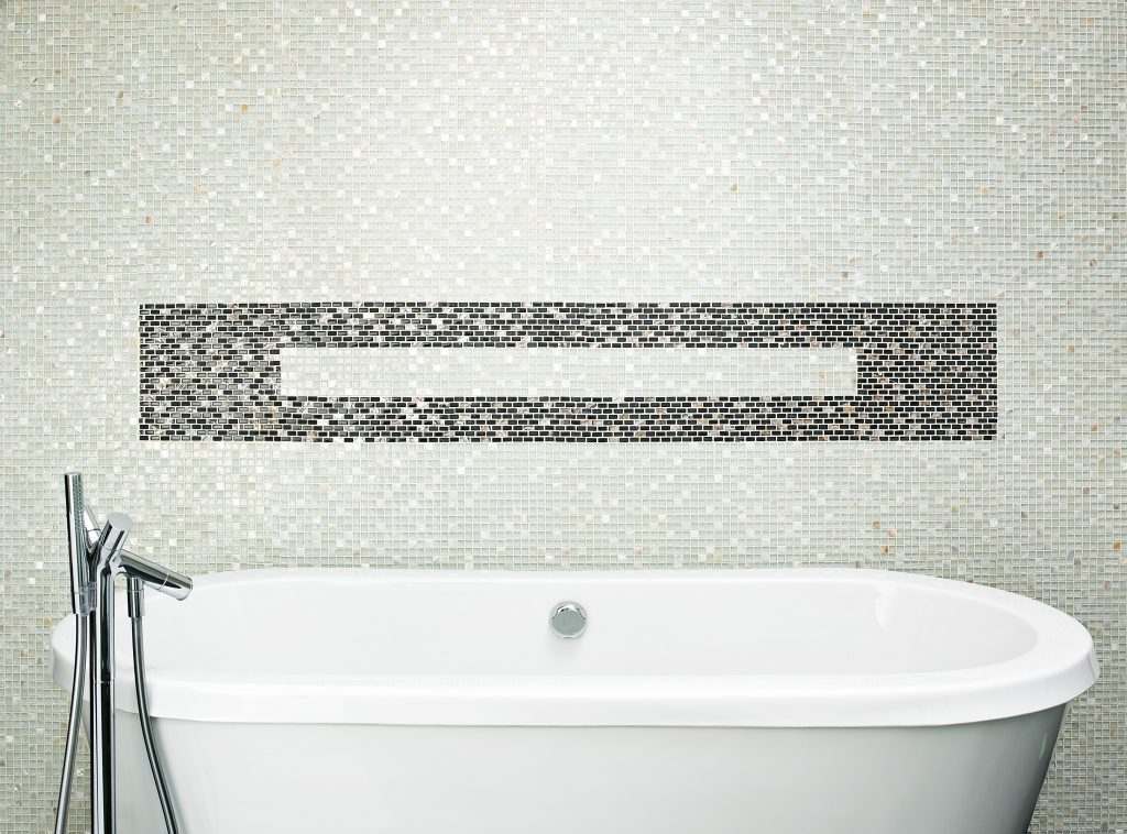 Marshalls Sea Pearl Mosaic with Dhali Black Brick Mosaic, bath shot, Edinburgh Tile Studio