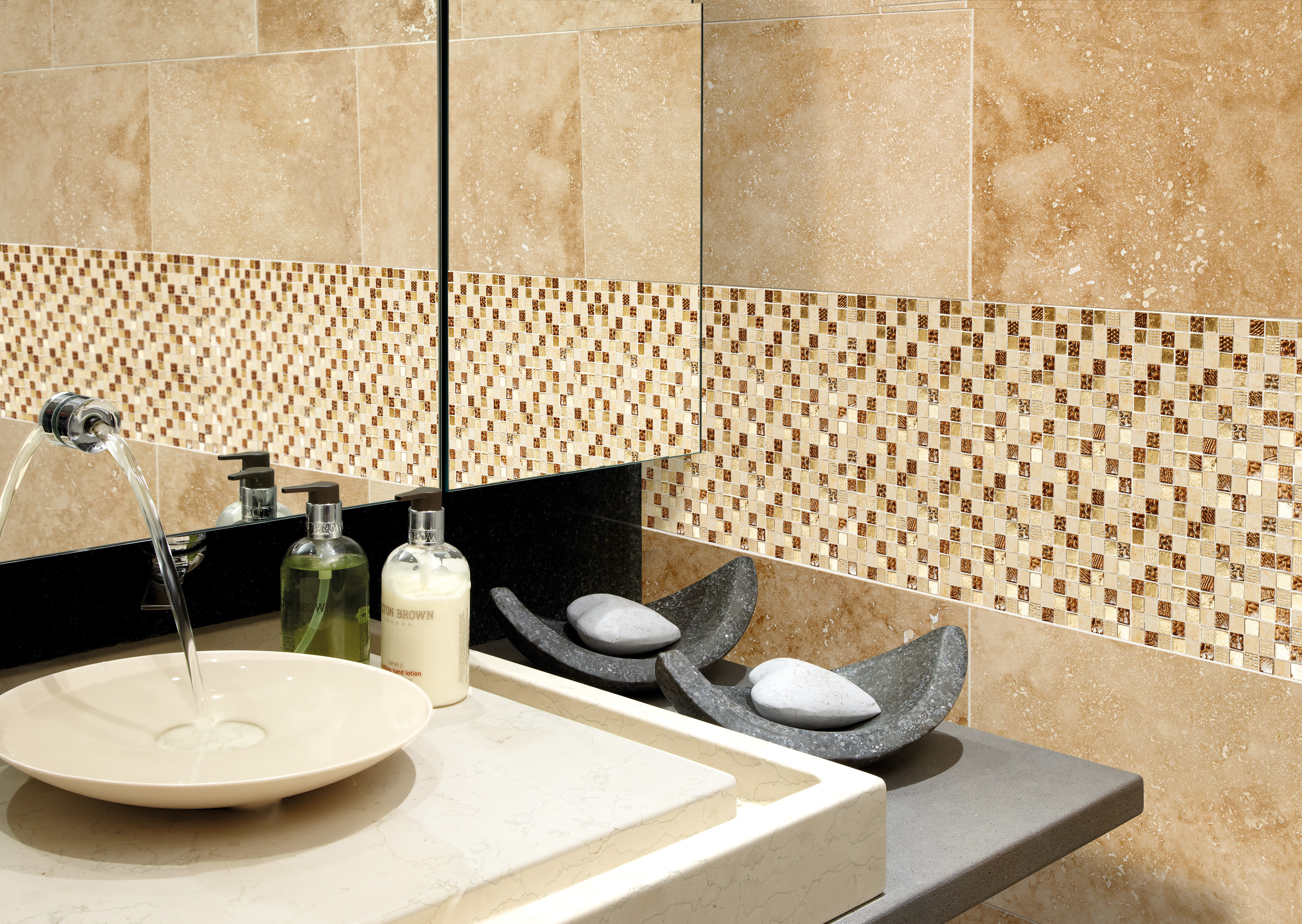 Gold Bathroom Tiles Uk marshalls safiya etched gold mosaic | edinburgh tile studio