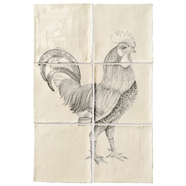 Marlborough Farmland Birds, Cockerel panel A, Edinburgh Tile Studio