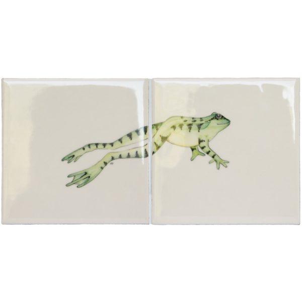 Marlborough Meadow / Frogs, Frog 3, two tile panel, Edinburgh Tile Studio