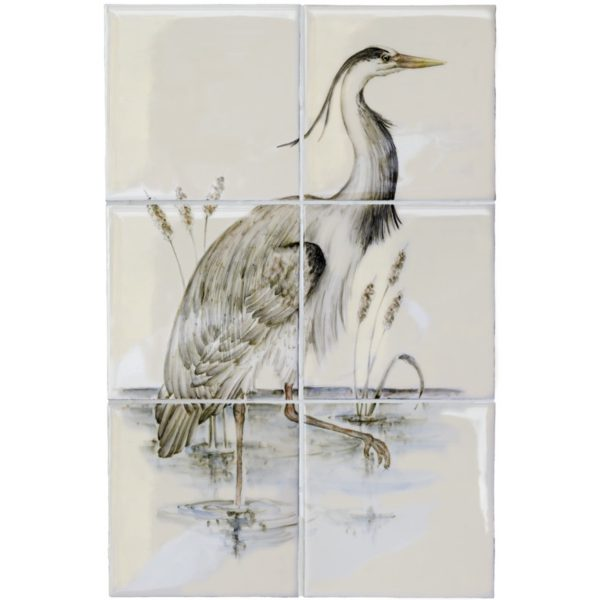 Marlborough British Birds, Heron (A) panel, Edinburgh Tile Studio