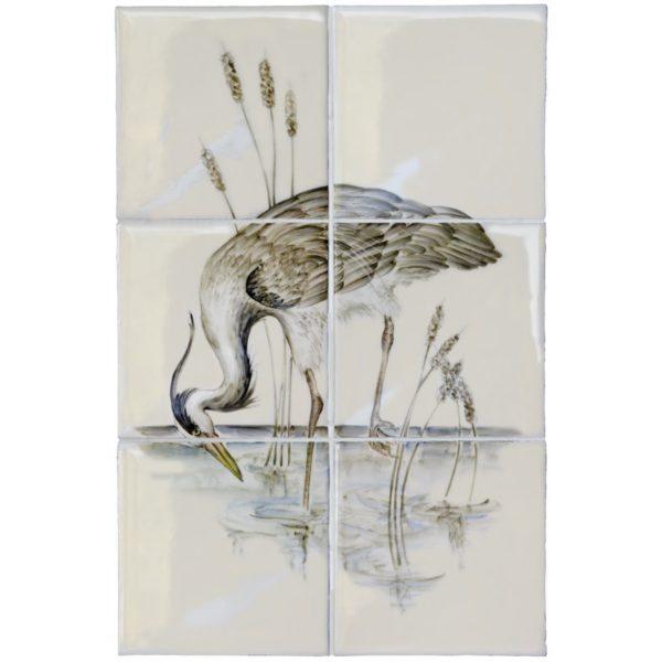 Marlborough British Birds, Heron (B) panel, Edinburgh Tile Studio
