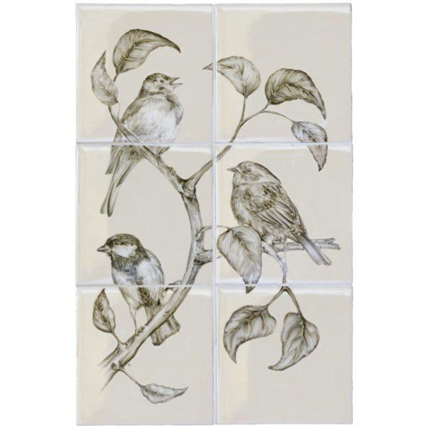 Marlborough British Birds, Birds (A) panel, Edinburgh Tile Studio