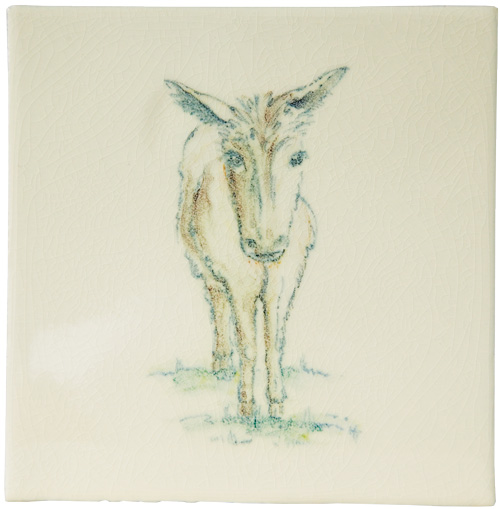 Marlborough Animals With Attitude, Donkey on Marlborough Neutrals White, Edinburgh Tile Studio