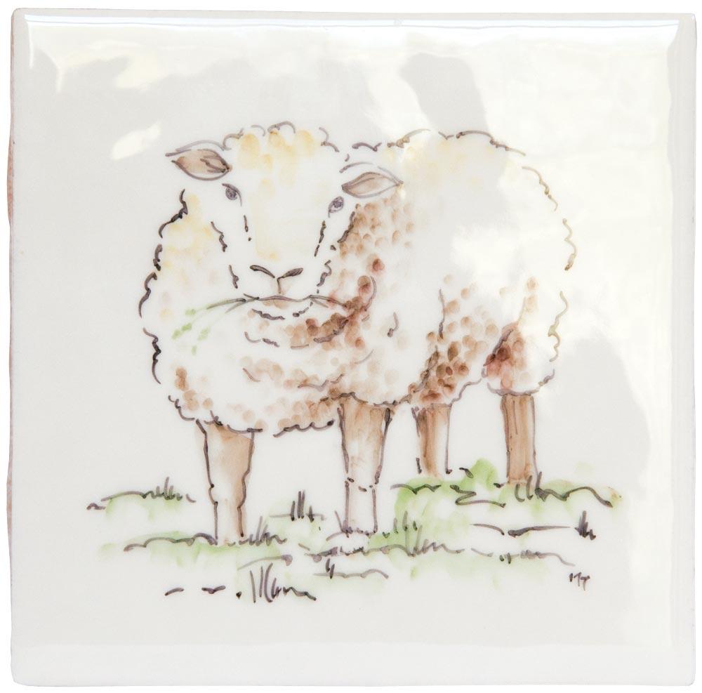 Marlborough Animals With Attitude, Sheep on Marlborough Neutrals White, Edinburgh Tile Studio