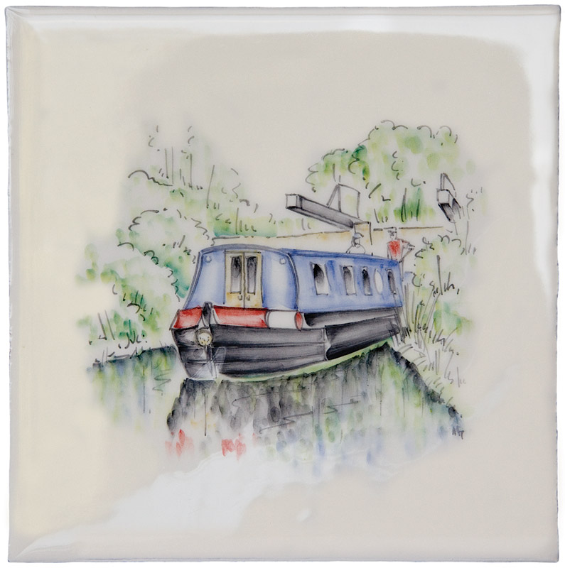 Marlborough British Countryside, Canal Barge, Edinburgh Tile Studio