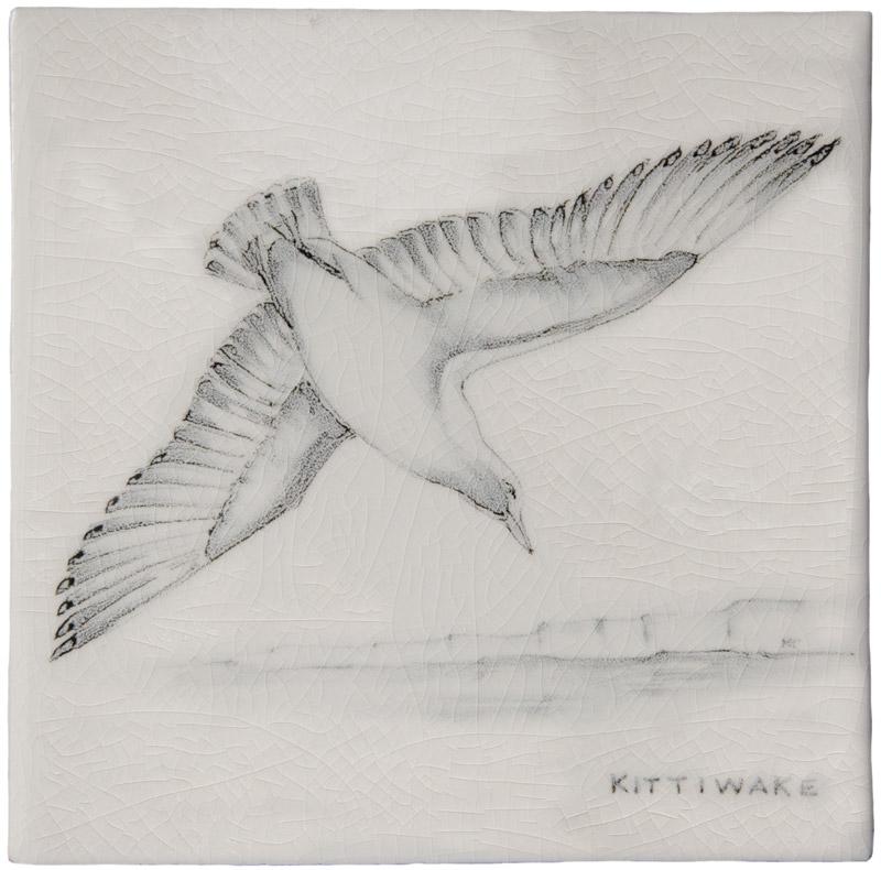 Marlborough Coastal & Moorlands Birds, Kittywake, Edinburgh Tile Studio