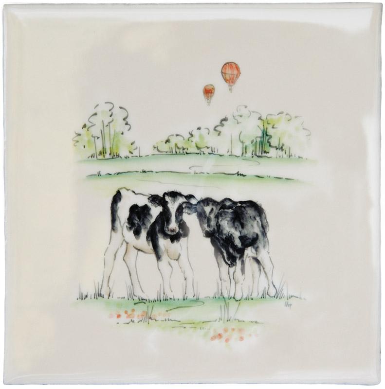 Marlborough Farmland Scenes, Calves, Edinburgh Tile Studio