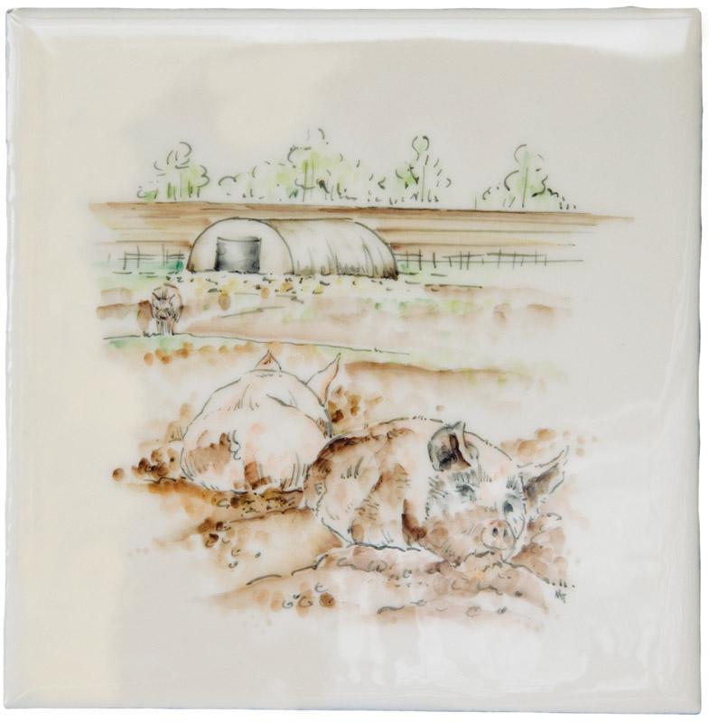 Marlborough Farmland Scenes, Pigs in Mud, Edinburgh Tile Studio