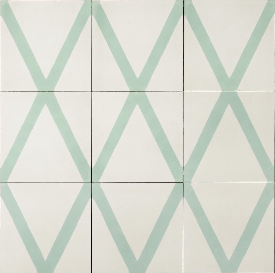 Marrakech Design Mats Theselius Kelim Hook Encaustic, milk / celadonl, Edinburgh Tile Studio