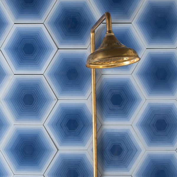 Marrakech Design Monica Forster Design Studio Four Elements Hexagon Blue, shower.  Edinburgh Tile Studio.