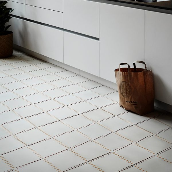 Marrakech Design, Claesson Koivisto Rune Stitch Encaustic, kitchen shot.  Edinburgh Tile Studio.