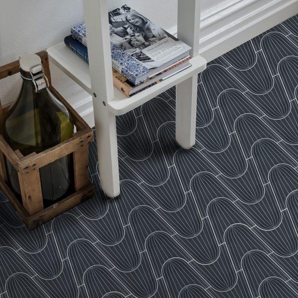 Marrakech Design Monica Forster Design Studio Breaking the Wave Black with Stripes, hallway.  Edinburgh Tile Studio.