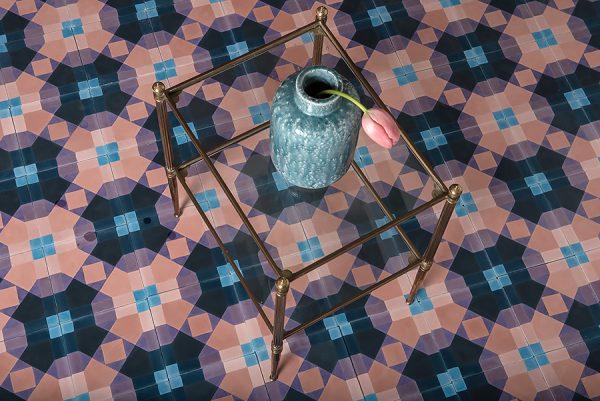 Marrakech Design Mats Theselius Raval Montalegre Encaustic, glass table. Edinburgh Tile Studio.
