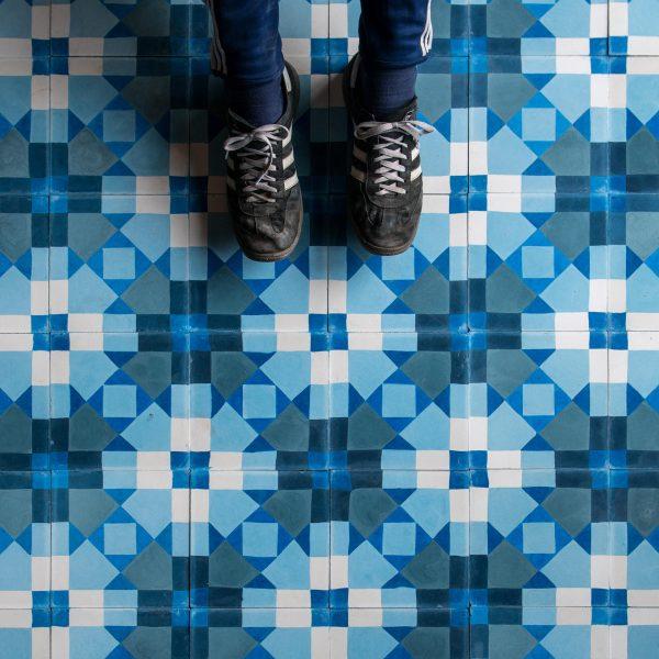 Marrakech Design Mats Theselius Raval Le Creu Encaustic.  Whose feet? Edinburgh Tile Studio.