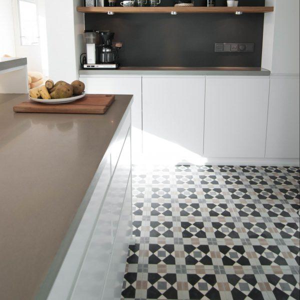 Marrakech Design Mats Theselius Raval I Encaustic, kitchen shot. Edinburgh Tile Studio.