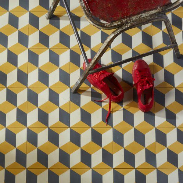 Ca' Pietra Adam Encaustic, Sulphur. Where's Dorothy? Edinburgh Tile Studio.