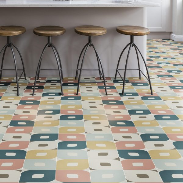Ca' Pietra Aruba Encaustic. A choodessny 70s floor. Edinburgh Tile Studio.