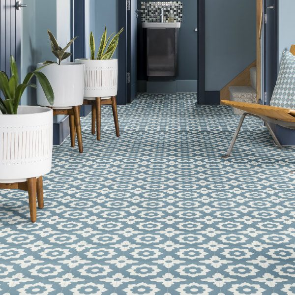Ca' Pietra Floris Denim Encaustic; simple sophistication.  Edinburgh Tile Studio.