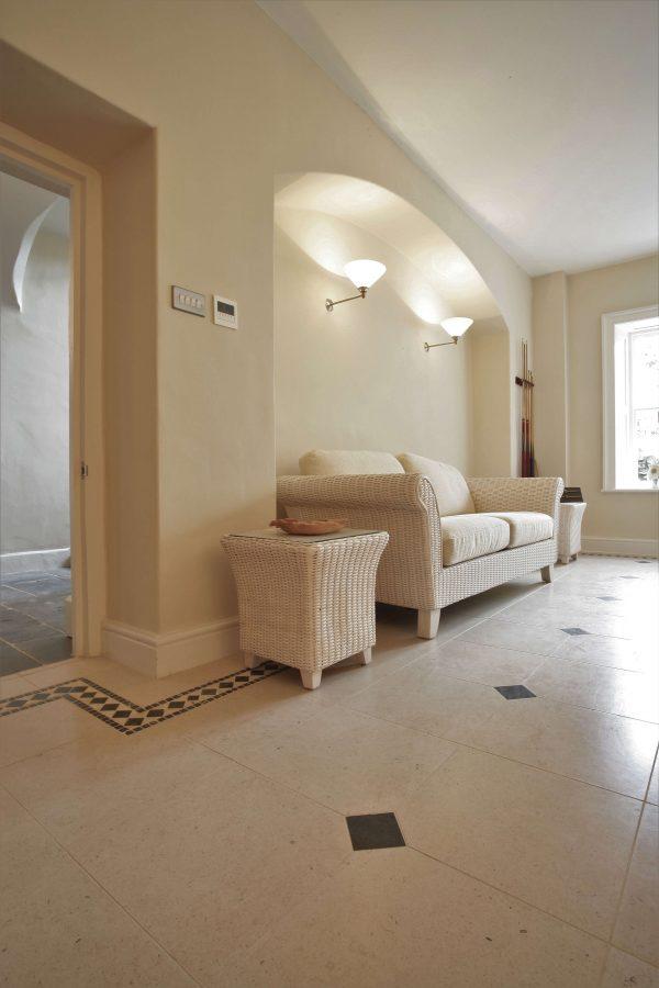Ca' Pietra Lymington Limestone, tumbled, hallway, Edinburgh Tile Studio.