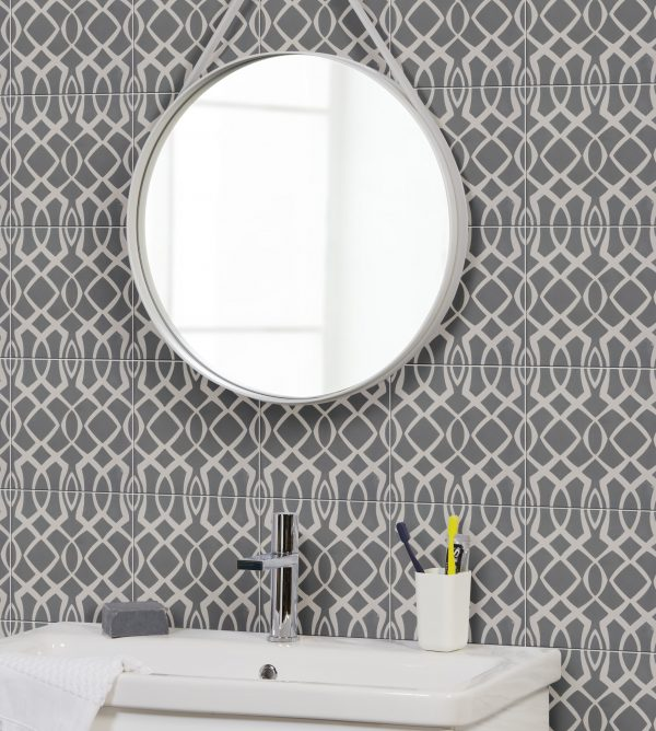 Ca' Pietra Modern Lattice, Blue, encaustic; mirror, mirror, on the wall… the other mirror lied….  Edinburgh Tile Studio.