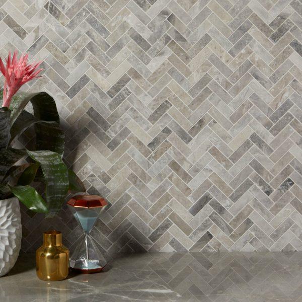 Palladio-HerrinCa' Pietra Palladio Marble, honed, herringbone splashback, Edinburgh Tile Studio.gbone-crop