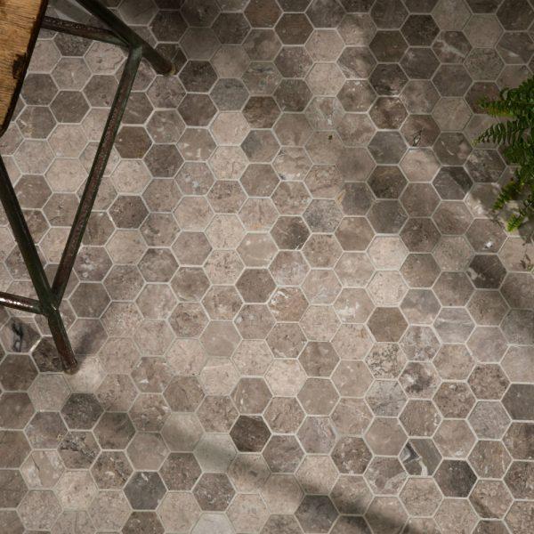 Ca' Pietra Palladio Marble, honed, hexagons, Edinburgh Tile Studio.
