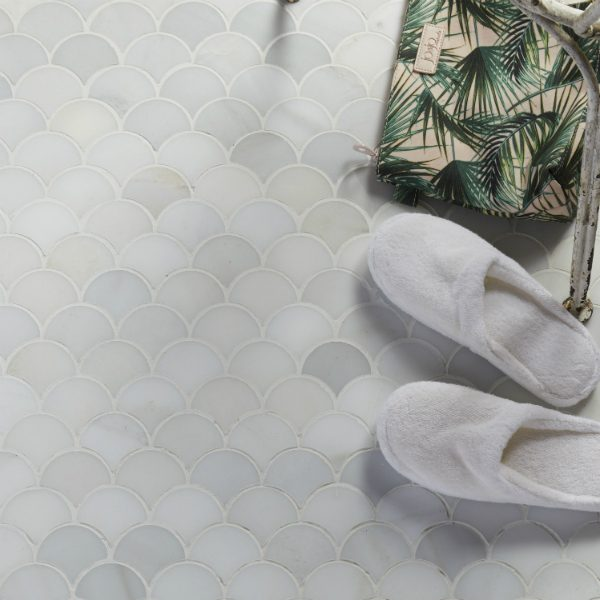 Ca' Pietra Zen Garden Collection, Kaiyo Marble Sheru Mosaic.  Wall shot.  Edinburgh Tile Studio.