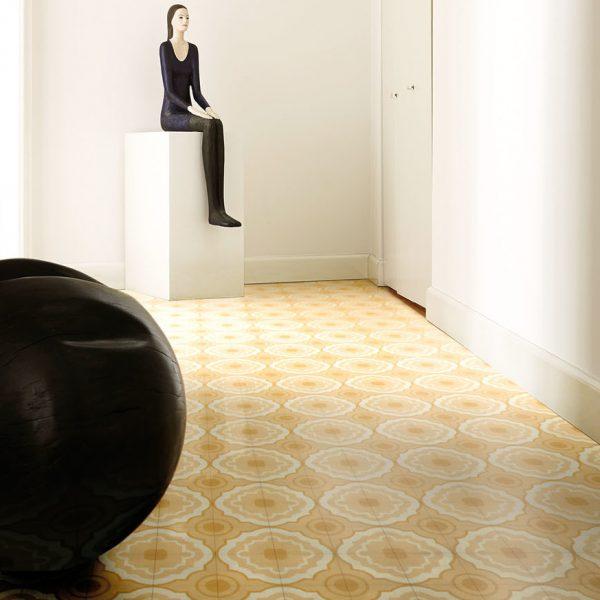 Bisazza Cupcake cementile.  Sun colourway.  Room Shot.  Edinburgh Tile Studio.