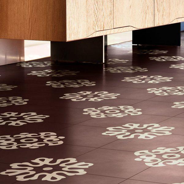 Bisazza Flakes Barolo cementile pattern.  Room shot.  Edinburgh Tile Studio.