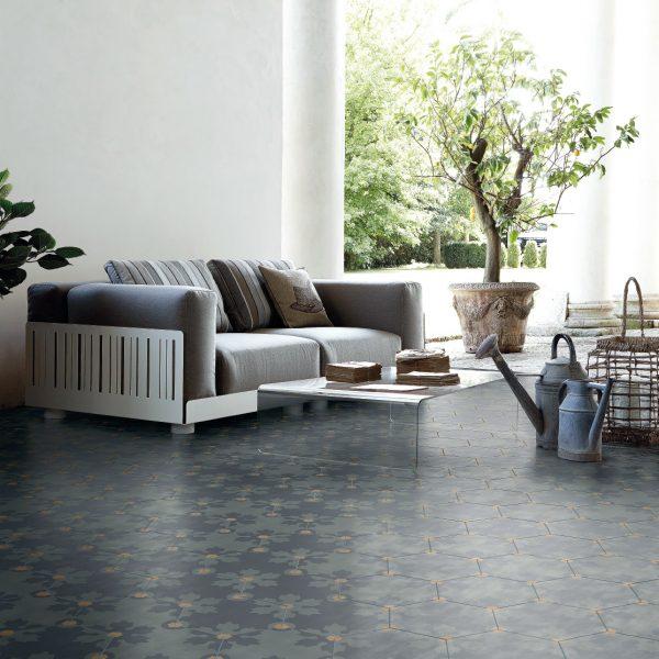 Bisazza Freeze Titanio cementile pattern.  Room shot.  Edinburgh Tile Studio.