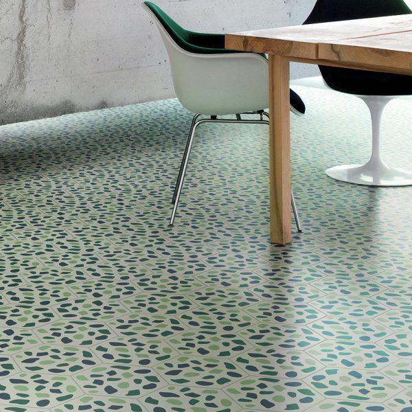 Bisazza Grit Blue cementile pattern.  Room shot.  Edinburgh Tile Studio.