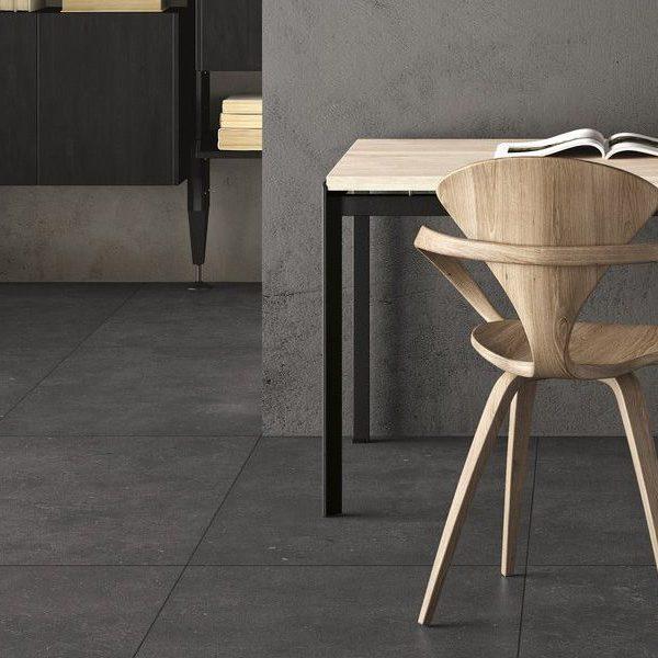Graniti Fiandre Black Fjord room shot.  Edinburgh Tile Studio..