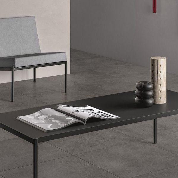 Graniti Fiandre Dusty Fjord room shot.  Edinburgh Tile Studio..