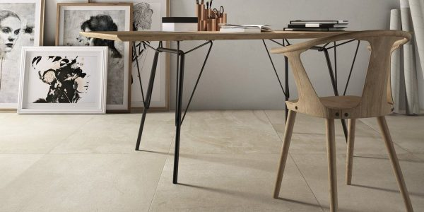 Graniti Fiandre Fawn Core Shade room shot.  Edinburgh Tile Studio..