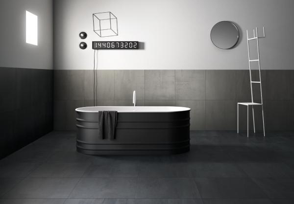 Graniti Fiandre 250F Frost Fahrenheit room shot.  Edinburgh Tile Studio..