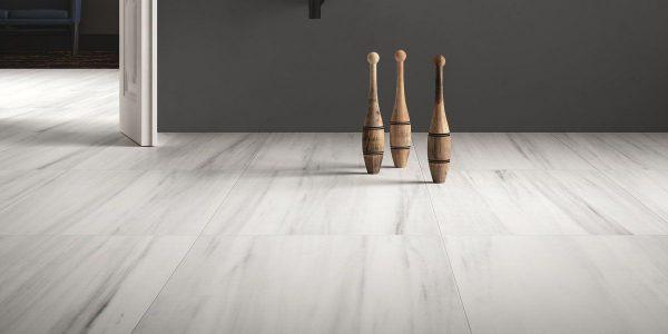 Graniti Fiandre Bianco Striato Marble Lab room shot.  Edinburgh Tile Studio..