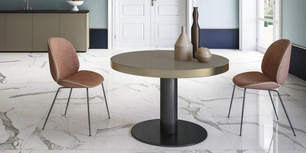 Graniti Fiandre Calacatta Statuario Marble Lab room shot.  Edinburgh Tile Studio..