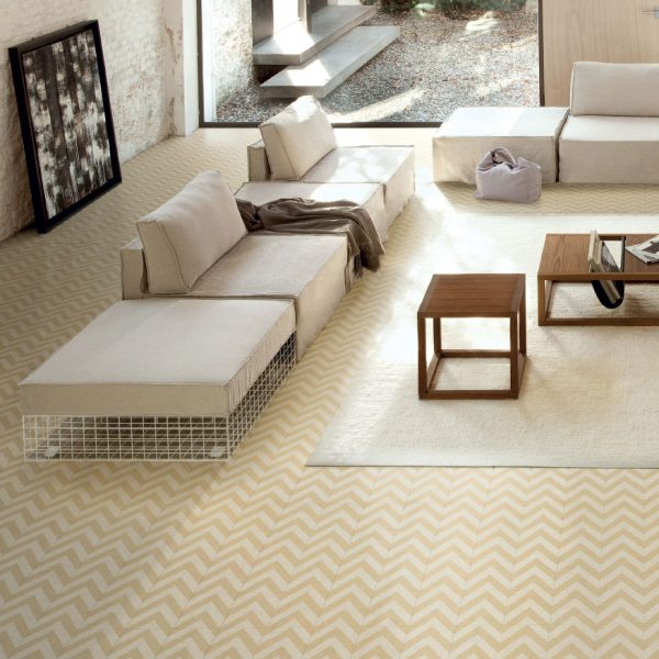 Bisazza Zag Avorio cementile pattern.  Edinburgh Tile Studio.