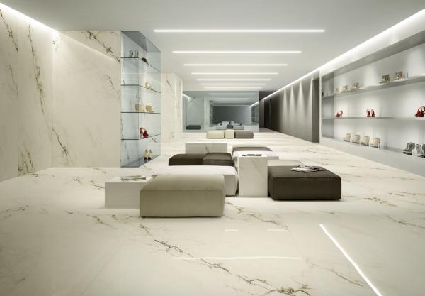Graniti Fiandre Imperial White Maximum room shot.  Edinburgh Tile Studio..