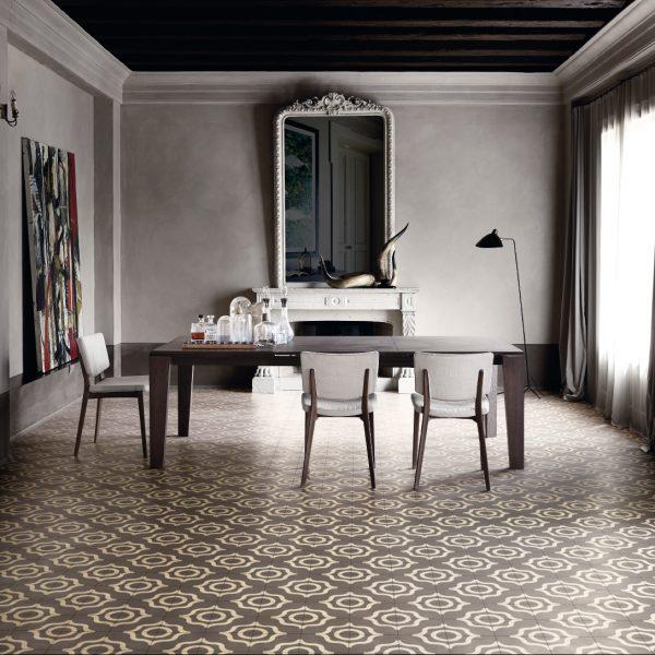Bisazza Karl cementile pattern.  Tortora colourway.   Room shot.  Edinburgh Tile Studio.