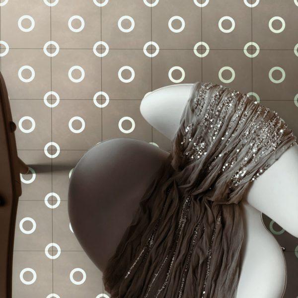 Bisazza Mould cementile pattern.  Room shot.  Edinburgh Tile Studio.