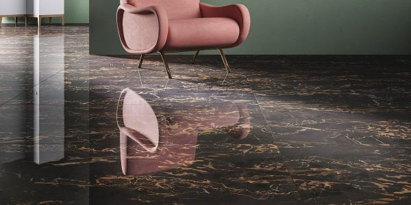 Graniti Fiandre Nero Portoro Marble Lab room shot.  Edinburgh Tile Studio..