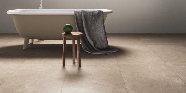 Graniti Fiandre Noble Ecru Marble Lab room shot.  Edinburgh Tile Studio..